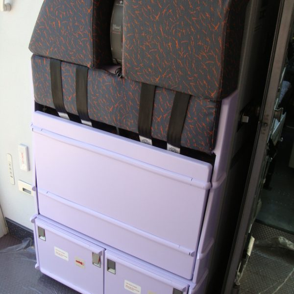 Attendant seat painted with HSH IP1065B thanks to FAA/EASA Paint Certification